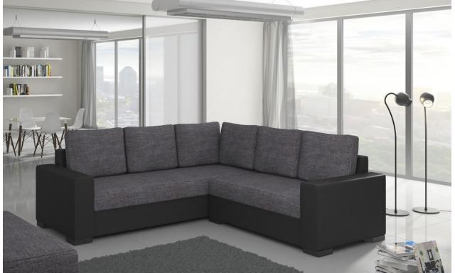 Moderná rohová sedačka Castel, čierna / sivá