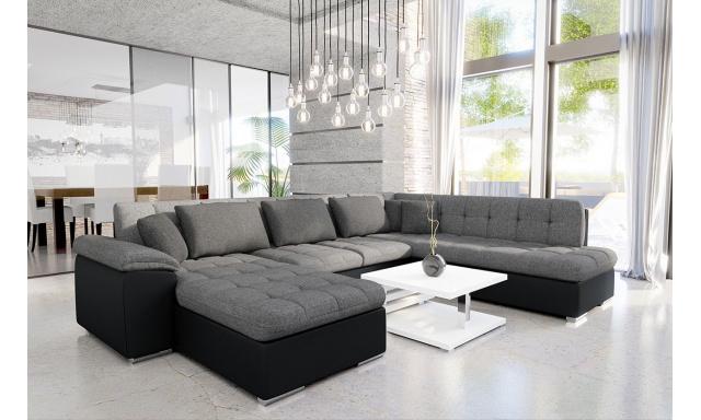 Luxusná sedacia súprava Kalla, čierna / sivá