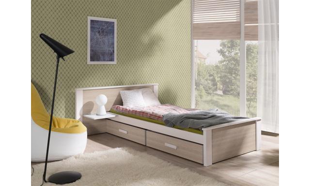 Detská posteľ Almerie, 90x200cm, biela / sonoma