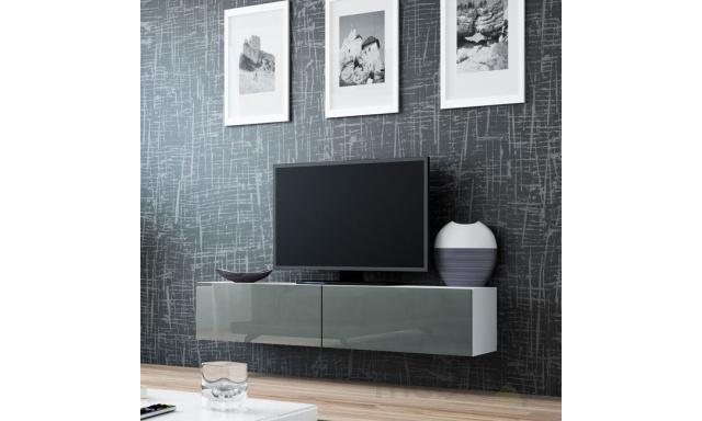 Moderný TV stolík Igore 140, bílá/šedý lesk