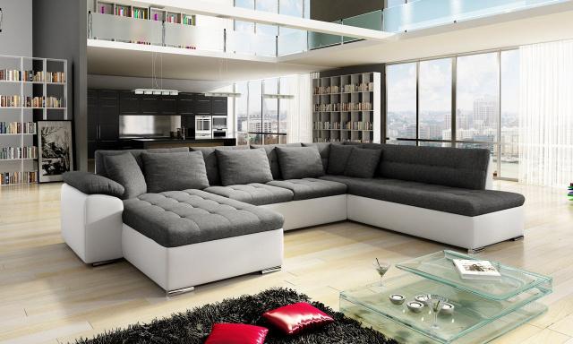 Luxusná sedacia súprava Kalla, biela / sivá