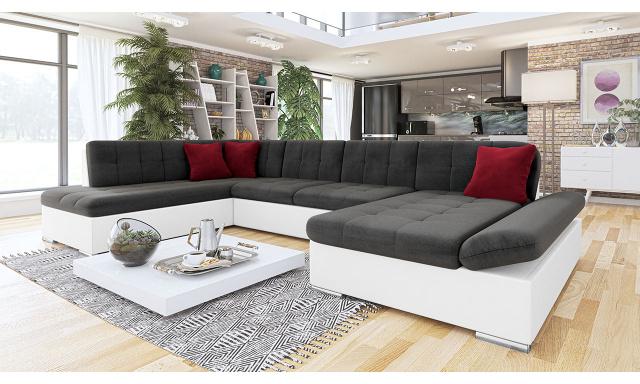 Luxusná sedačka v tvare U Bravo, biela / tmavo šedá