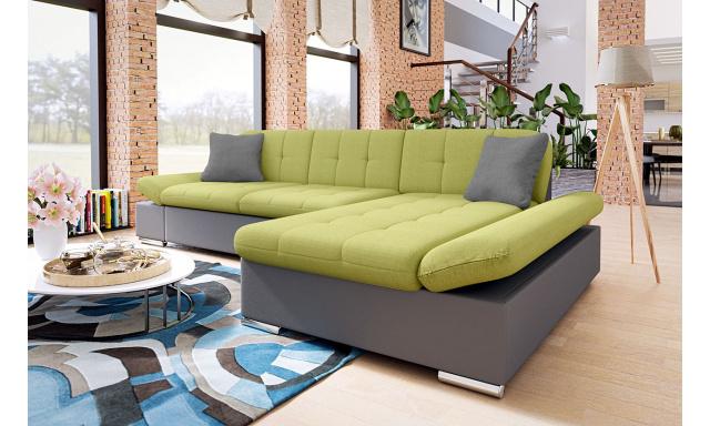 Moderná rohová sedačka Malaga, sivá / zelená