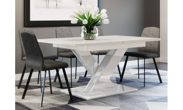 Rozkladací jedálenský stôl Brasilia, biely lesk