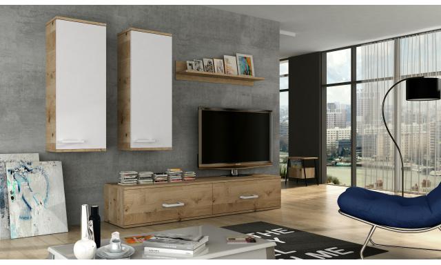 Moderná obývacia stena Frank, dub lancelot / biely lesk