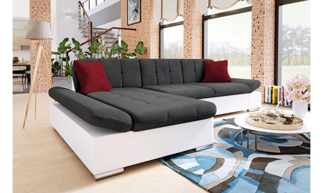 Moderná rohová sedačka Malaga, biela / tmavo šedá