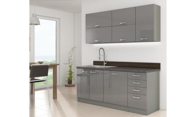 Luxusná kuchyne Gery 180cm, sivý lesk