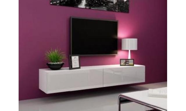 Moderný TV stolík Igore 140, bílá/bílý lesk