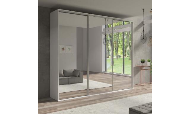 Skriňa Girona 254cm, biela + 3x zrkadlo