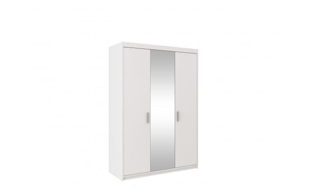 Šatníková skriňa Alena 3D, biela / zrkadlo
