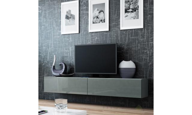 Moderný TV stolík Igore 180, šedá/šedý lesk