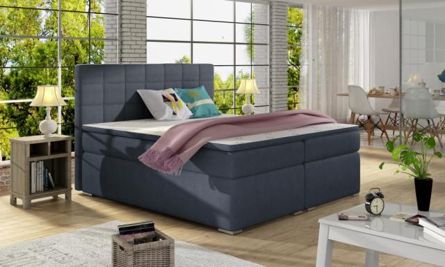Moderná box spring posteľ Alvares 180x200, modrá