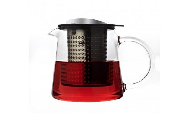 Sklenená kanvica na čaj Fínov Tea Control ™ 0,4 L, čierna / nerez, s podložkou