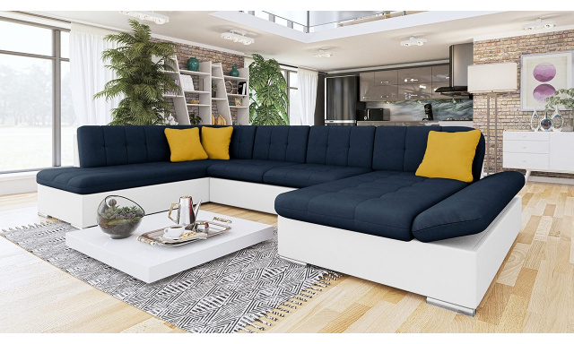 Luxusná sedačka v tvare U Bravo, biela / modrá