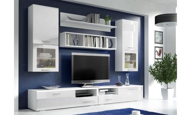 Obývacia stena Ideko biela / biely lesk