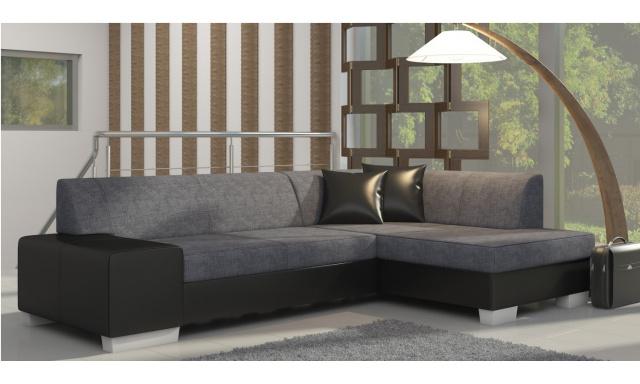 Moderná rohová sedačka Filip, čierna / sivá