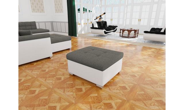 Moderný taburet Kler menšie, biela / sivá LUX