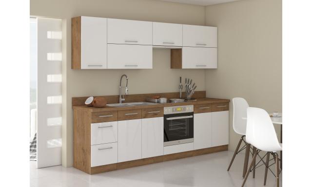 Luxusné kuchyne Verizon 260cm, dub Lancelot / biely lesk