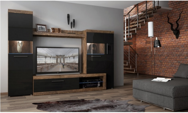 Moderná obývacia stena Sycilie, MDF čierny lesk!