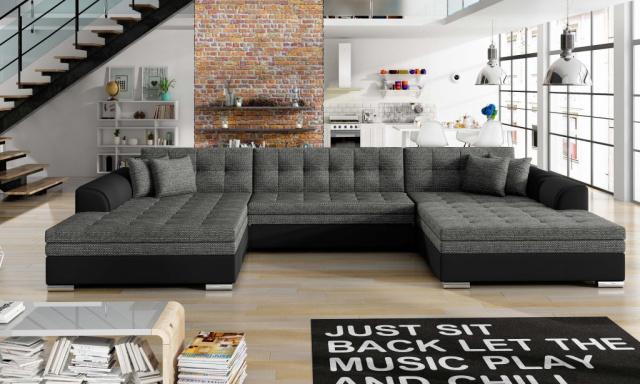 Rohová sedačka v tvare U Vertu, čierna / sivá