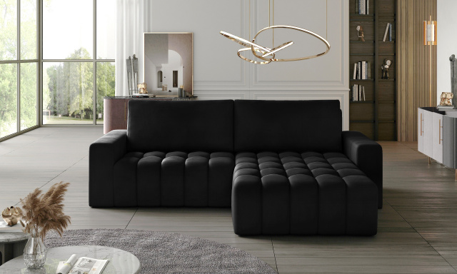 Moderní rohová sedačka Besone, černá Velvet