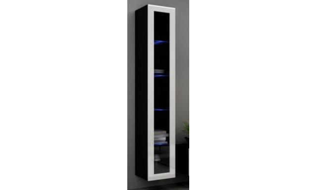Závěsná vitrína Igore 180 sklo, černá/bílý lesk
