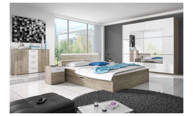 Spálňa Beata s postelí 180cm, dub san remo/bílá