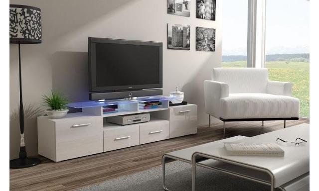 TV stolík Evora, bílá/bílý lesk