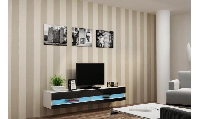 Moderný TV stolík Igore new, bílá/černý lesk