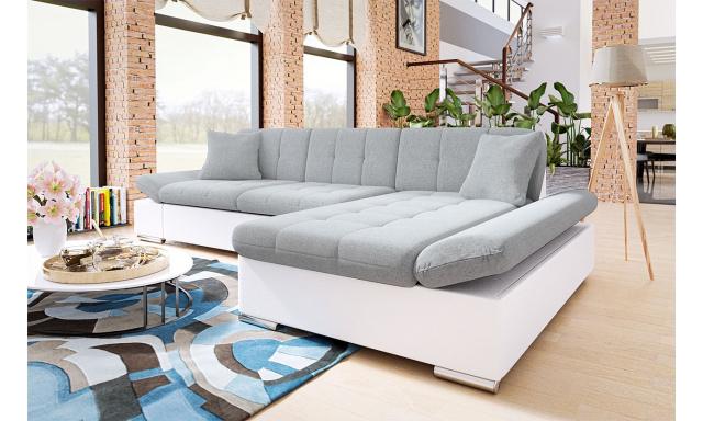 Moderná rohová sedačka Malaga, biela / sivá