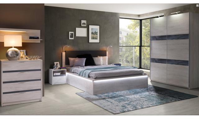 Spálňový nábytok Drake D, dub biely / grafit lesk