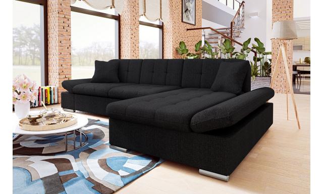 Moderná rohová sedačka Malaga, čierna