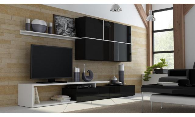 Luxusná čierna obývacia stena Gono, vysoký lesk