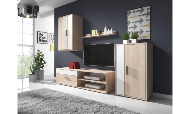 Moderná obývacia stena Toreto, sonoma / biela