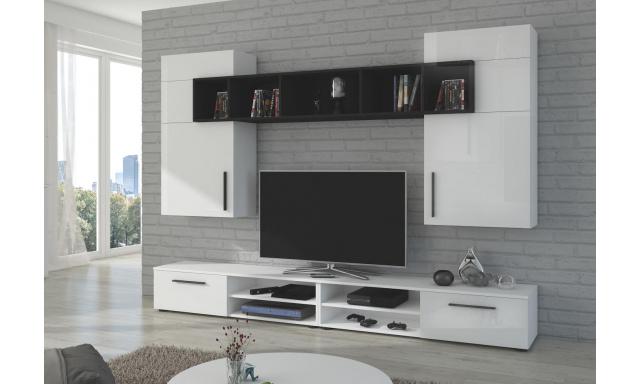 Moderná obývacia stena Brela, biely lesk