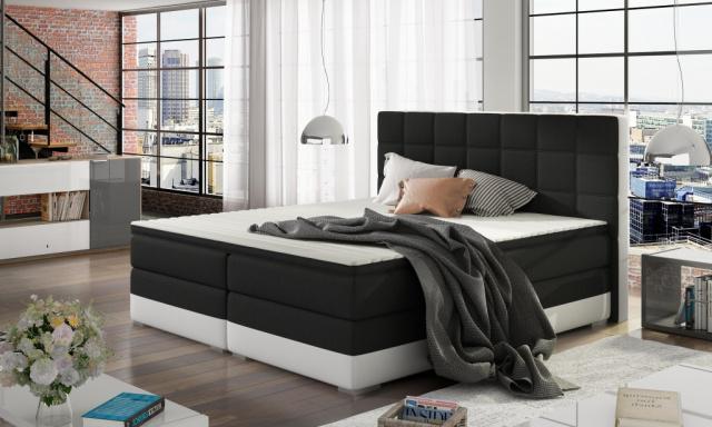 Moderná box spring posteľ Dolores 180x200, biela / čierna