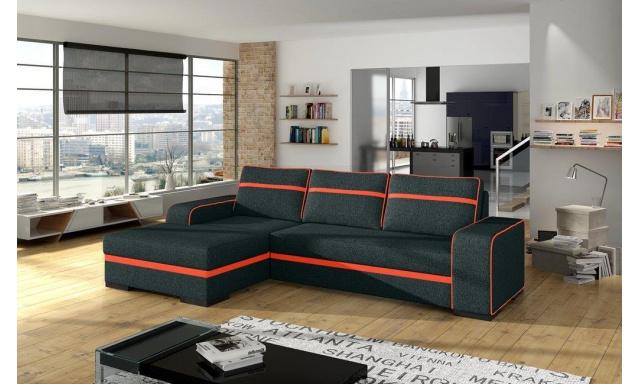 Moderná rohová sedačka Fons, čierna / oranžová