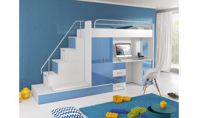 Detská izba Rimini, biela / modrý lesk
