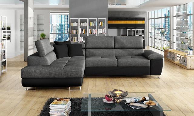 Luxusná sedacia súprava Cinnamon, čierna / tmavo šedá