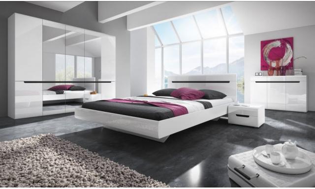 Spálňa Helios s postelí 180cm, bílá/bílý lesk