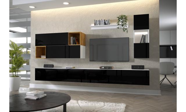 Moderný bytový nábytok Premio G, biela / čierny lesk