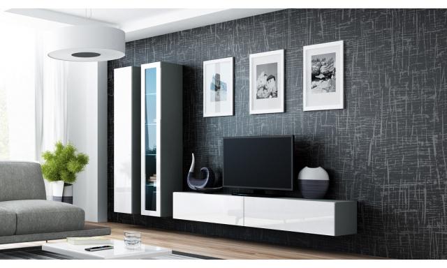 Obývacia stena Igor L, sivá / biely lesk