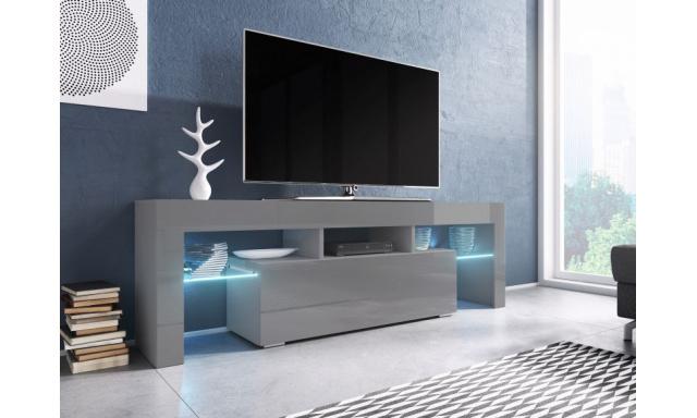 Moderný TV stolík Targa 138cm, sivá / šedý lesk