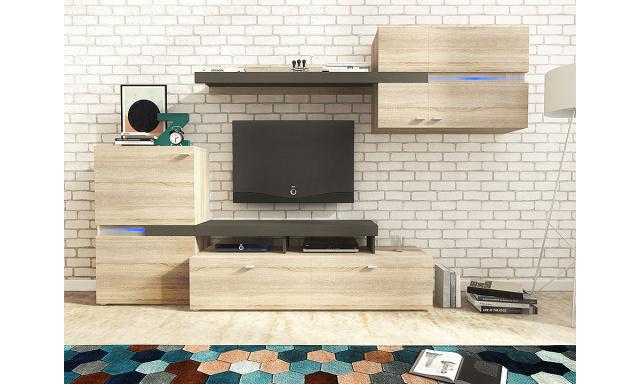 Moderná obývacia stena Jeta, sonoma / grafit