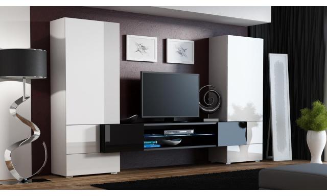 Moderná obývacia stena Diego, biela s čiernym TV stolíkom