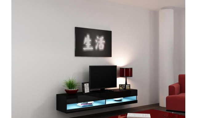 Moderný TV stolík Igore new, černá/černý lesk