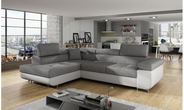 Moderná rohová sedačka Astra, biela / sivá