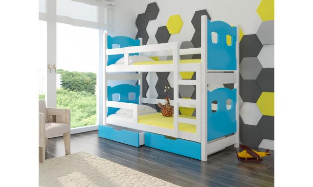 Detská poschodová posteľ Marika, biela / modrá + matrace ZADARMO!