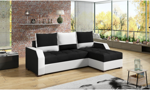 Moderná rohová sedačka Ariel, biela / čierna