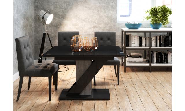 Rozkladací jedálenský stôl Merida, čierny lesk